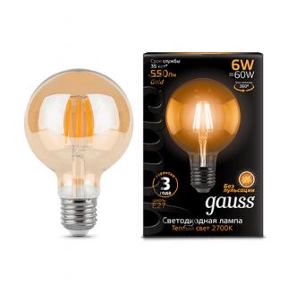 Лампа Gauss LED Filament G95 Golden